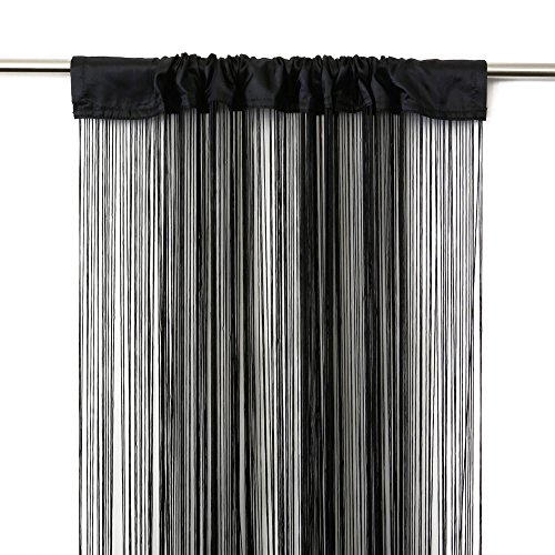 Victoria M. Leonora Vorhang - Fadenvorhang 100 x 245cm, schwarz, 2er Pack