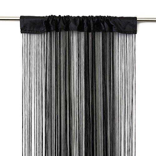 Victoria M. Leonora Cortina de Hilos 100 x 245cm, Negro | Set de 2