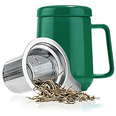 Tealyra - Peak Ceramic Green Tea Cup Infuser - 19-ounce - Large Mug with Lid and Stainless Steel Infuser - Tea-For-One Perfect Set for Office and Home Uses - 580 milliliter
