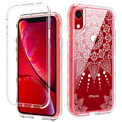 DOMAVER iPhone XR Phone Case Flower, iPhone XR Case Clear with Pretty Floral for Girls Women 3 in 1 Hybrid Transparent Hard PC Flexible Rubber Cover Shockproof Protective Phone Cases, Mandala Flowers