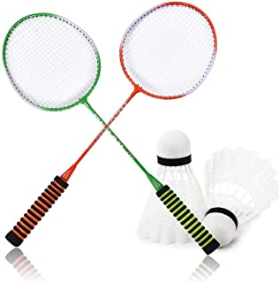 Badminton Racquets, 2Pcs Steel Alloy Professional Badminton Racket with High Elastic Sponge Handle, Come with Bag, Suitabl...