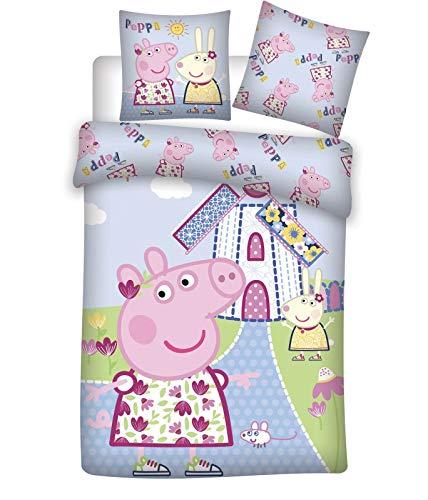 Peppa Wutz Bettwäsche Kinder 100 x 135 + 40 x 60 cm Set 100% Baumwolle