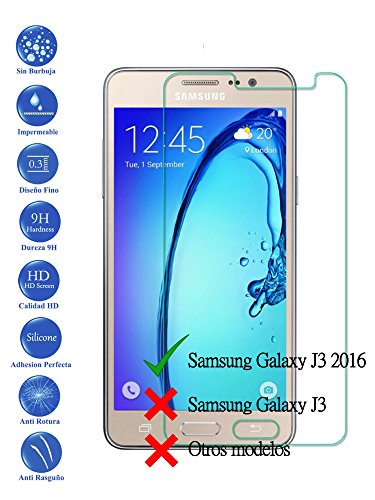 Todotumovil Protector de Pantalla Samsung Galaxy J3 2016 de Cristal Templado Vidrio 9H para movil