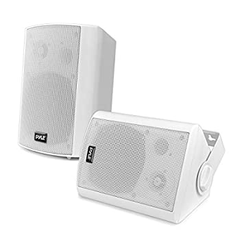Wall Mount Home Speaker System - Active + Passive Pair Wireless Bluetooth Compatible Indoor / Outdoor Water-resistant Weatherproof Stereo Sound Speaker Set with AUX IN - Pyle PDWR51BTWT  White
