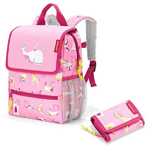 Reisenthel kinderrugzak set met gratis portemonnee backpack Wallet Kids (ABC Friends pink)