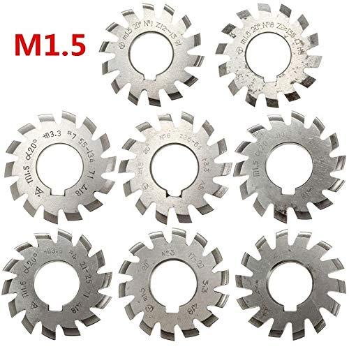 L-Yune-wj Modul 1.5 M1.5 PA20 Grad Bohrung 22mm # 1-8 HSS Involute Zahnradfräser Hochgeschwindigkeitsstahlfräser Zahnradschneidwerkzeuge (Cutting Edge Diameter : 2)