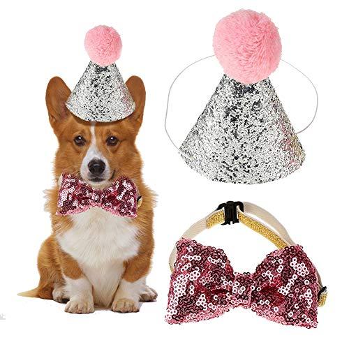 2 Unids Sombrero de Cumpleaños, Perro Mascota Perro Gorro de Cumpleaños Sombreros Reutilizables Bowknot Fiesta Traje Perro Cachorro Regalo de cumpleaños (Pink)