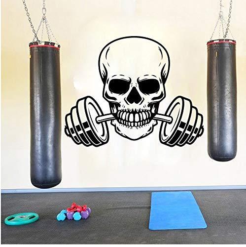 Langhantel Fitness Wandaufkleber Gym Workout Schädel Langhantel Crossfit Sport Wandtattoo Übung Vinyl Dekor 56X44Cm