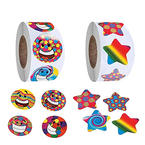 2 Rolls Student Reward Stickers for Kids - Colorful Smiley Faces and Stars - School Achievement (200 Total Stickers)