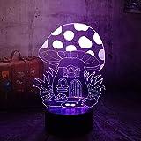 Lámpara de ilusión LED 3D Casa de setas 7 colores que cambian el hogar Bar Decoración de fiesta Niño Regalos de vacaciones-16 colors remote