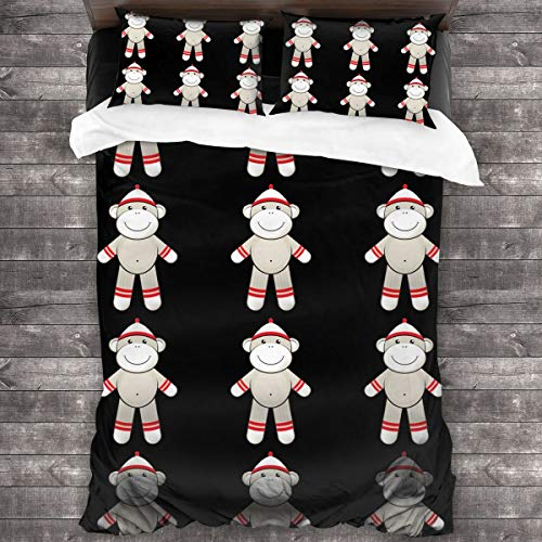 DoubleHappy Red Sock Monkey Comforter 3 Pcs Bedding Sets Quilt Cover Pillowcase 86 X70 Inches