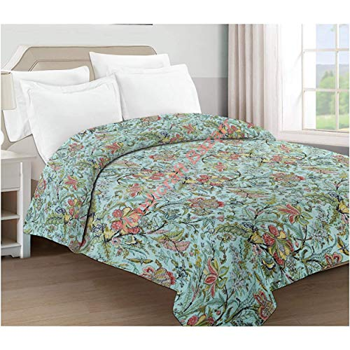 Handicraft Bazarr Kantha - Colcha de algodón para cama de matrimonio, diseño floral