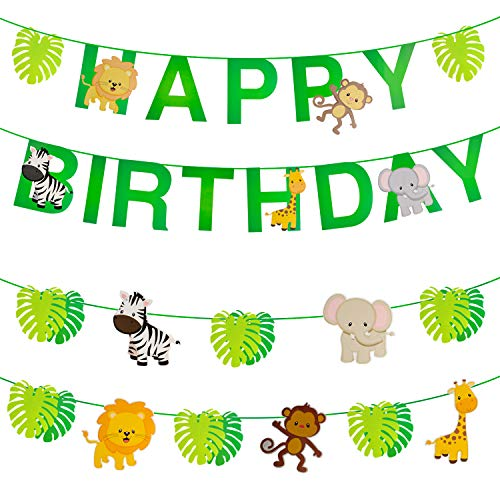 OOTSR 32 piezas animales de la selva/hojas/feliz cumpleaños Banner, fuentes lindas del partido para las fiestas de cumpleaños del tema del bosque de la guirnalda