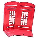 Nrpfell 1 Par de Dise?O de Cabina TelefóNica de Londres Sujetalibros Antideslizantes EstanteríA de Libros PapeleríA (Rojo)