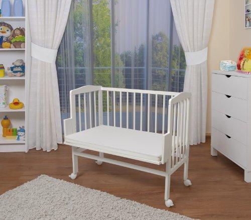 WALDIN Cuna colecho para bebé, cuna para bebé, altura regulable, natural sin tratamientos o lacado en blanco,Lacado en blanco