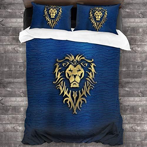 Kankanhaha World of Warcraft Bettwäsche-Set, superweich, Doppelgröße, geeignet für Kinder, 3-teilig, Cartoon-Druck, für Mädchen und Jungen, Bettdeckenbezug mit Reißverschluss, Einheitsgröße