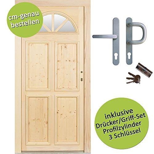 kuporta Fichte Holzhaustür nach Maß Gudensberg DIN links SIZE Haustüren Eingangstür Wohnungstür Holztür mit Drücker/Griff-Set