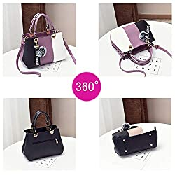 Handbags for Women Fashion Ladies Purses PU Leather Satchel Shoulder Tote Bags (purple)
