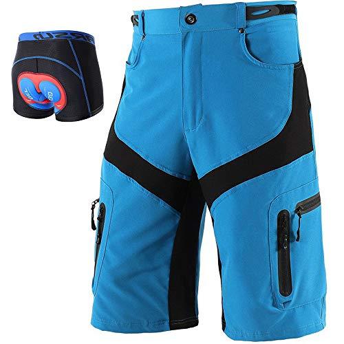 LXZH MTB Hose Herren Kurz mit Unterhosen Gepolstert Gel 5D, Radhose Set Fahrradunterhose mit Stoßfest Sitzpolster, Wasserdicht Atmungsaktiv mit 6 Taschen,Blau,L