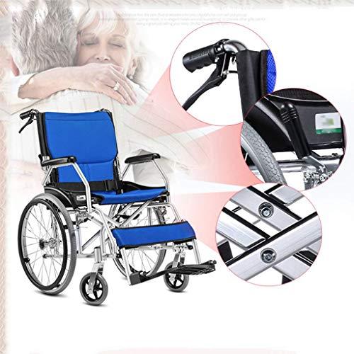 BOC Licht-Pflicht-Reisen Kleine Rollstühle, Ältere behinderte Menschen schieben Scooter, Ältere Menschen Rollstühle faltbare, Geeignet für Behinderte und ältere Menschen, Rot,Blau