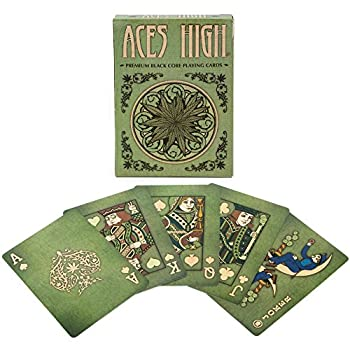 Brybelly Aces High Premium Green Playing Cards Black Core Plastic-Coated Poker Wide Size Standard Index
