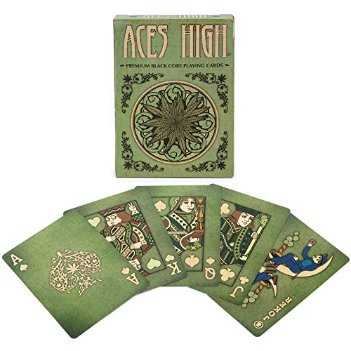 Brybelly Aces High Premium Green Playing Cards, Black Core, Plastic-Coated, Poker Wide Size, Standard Index