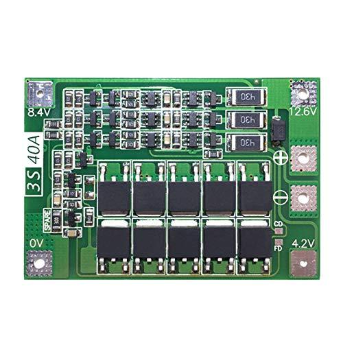 SODIAL 3S 40A para Destornillador 12V Li-Ion 18650 BMS Pcm Tablero De Protección De La Batería BMS Pcm con Equilibrio Módulo De Paquete De Celda De Batería Liion