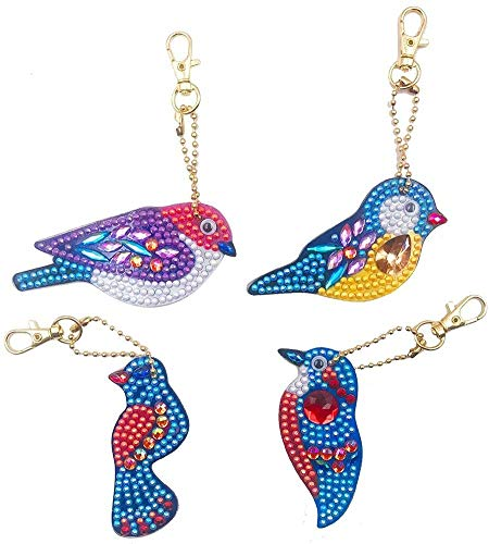 5D Diamond Painting Kits for Adults Kids, YALKIN Full Drill Diamond Painting Keychain Accessories for Christmas Pendant, Bags, Smartphone Straps, Christmas Rhinestone Arts Crafts, 4 Pcs Free Birds