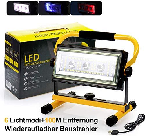 Led Baustrahler Akku Strahler - 80W Baulampe Arbeitsleuchte mit 6 Lichtmodi (300 bis 8000 Lumen), Arbeitsleuchte Tragbar, bis 10 Stunden Leuchtdauer, USB Ausgang-Ports, Außen Beleuchtung für Camping