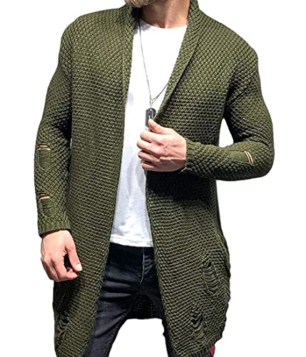 Balscw Men's Long Sleeve Shawl Collar Ripped Distressed Open Front Sweater Knitted Cardigan Coat
