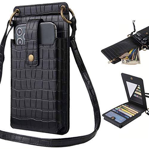 HIGHGO Womens Small Crossbody Cell Phone Wallet Shoulder Phone Purse,Cellphone Shoulder Bags Card Holder Wallet Purse for Below 6.3 inch Smartphones (Black)