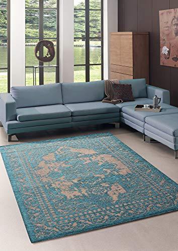 Bari Moderner Vintage Teppich mit klassischen Elementen, Orient Style, Designer Teppich, Super Flach, Used Look,Kräftige Farben, Türkis 160x230 cm