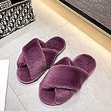 XZDNYDHGX Zapatillas para Pantuflas,Zapatillas de casa de Invierno para Mujer, Zapatos cálidos de Piel sintética,toboganes Peludos para Interior, Morado EU 39-41