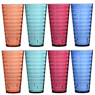Splash 28-ounce Multi Color Plastic Cup Tumblers | Set of 8 in 4 Assorted Colors