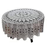 DoubleWood Tan Tablecloth Christmas Floral Lace Banquet Round Tablecloths for Holiday Festival Party Home Decorations Baby Showers Table Covers for Dinning Room Kitchen Tables 78Inch