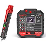 KAIWEETS Non-Contact Voltage Tester & Electrical Outlet Tester/GFCI Tester, Dual Check 2-in-1 Electrical Test Kit With LCD Display, 360° Visual & Audible Indicators, 12V-1000V/48V-1000V Dual Range