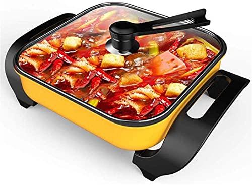 Parrilla eléctrica para el hogar Olla caliente Utensilios de cocina seguros Fondue Fryers Olla eléctrica multifunción de lujo Olla caliente mongol sin humos para el hogar Antiadherente (tamaño: 4