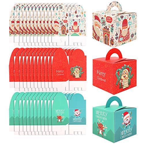 Cajas de dulces navideños,paquete de 30 tema de Navidad caja de regalo de papel artesanal de dibujos animados lindo para niños,caja de regalo de regalo de favor portátil caja de estuche dulce