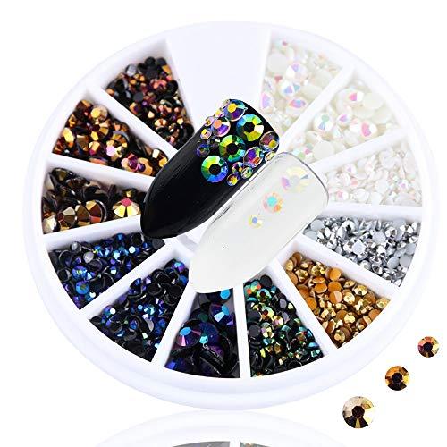 Meiyy Nageldecoratie Shiny Ab Mixed Size Rhinestones Nail Art Decoratie Hars Diamant ondergrond Platte manicure Charm Nail Art Accessoires Fiets