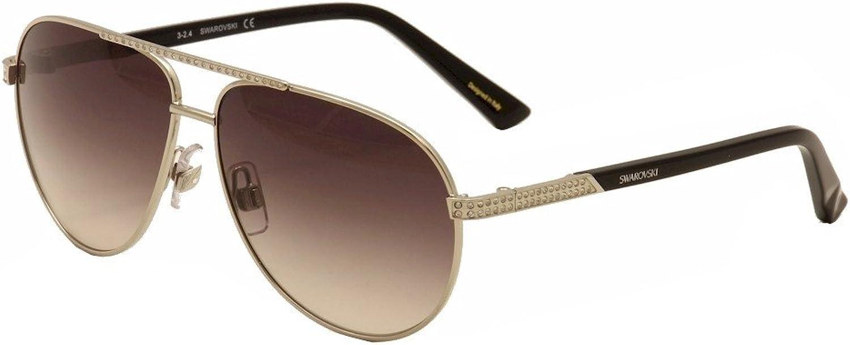 Daniel Swarovski Women's Elis SW78 SW 78 16B Palladium Black Aviator Sunglasses