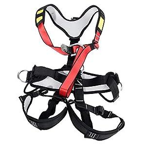 Alomejor Arnés de Escalada Cinturón de Seguridad de Cuerpo Completo con Aros de aleación y Malla Transpirable Forrada para Escalada en Roca al Aire Libre