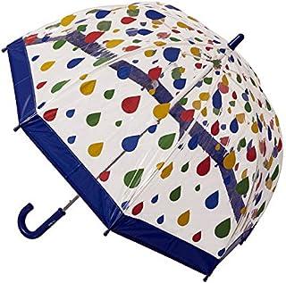 Clifton Umbrellas Kids' Birdcage Raindrops Umbrella, PVC, Kid Friendly, Blue