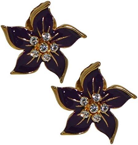 STARFLOWER gold plated purple clip on earrings