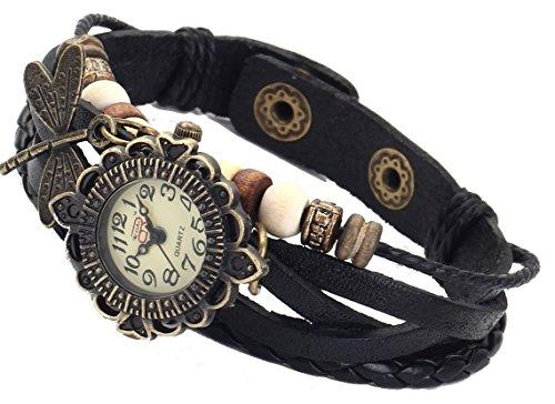 Boolavard® TM Uhr Leder Armbanduhr Armreif Damenuhr Lady Quarz Bracelet Beads Watch Geschenk Gift (Libelle)