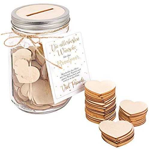 Kleinlaut Gästebuch für z.B. Hochzeiten - Ball Mason Jar Glas 950 ml - inklusive 50 x Holzherzen - außergewöhnliche Alternative zum traditionellen Gästebuch
