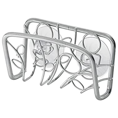 InterDesign Twigz Kitchen Sink Suction Holder for Sponges, Scrubbers, Soap - Silver