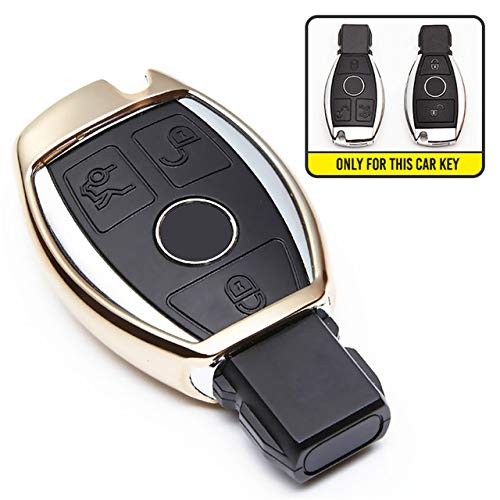 ZYYSK Für TPU autoschlüssel Abdeckung case für Mercedes Benz c klasse amg w203 w210 w211 w124 w202 w204 w205 w212 w176 gle w166 Coupe c292 ml gls cla,Gold only case