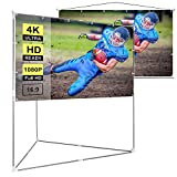 VIVOHOME 100 Inch 2-in-1 Portable Video Projector Screen with Triangle Stand, 16:9 Aspect Ratio Hanging Screen for Home School Office Indoor Outdoor