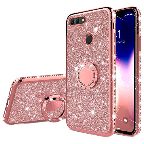 Saceebe Compatible avec Huawei Y9 2018 Coque Transparente Glitter Bling Paillette Diamant Brillant Strass Housse Silicone TPU Etui avec Anneau Support Bague Anti-Choc,Or Rose