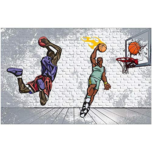 Wffmx Benutzerdefinierte Foto 3D Wallpaper Nostalgische Backsteinmauer Basketball Trapez Dunk Ktv Wohnkultur 3D Wandbilder Wallpaper Für Wand 3 D-300X210Cm